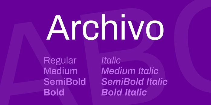 Archivo Font Family Free
