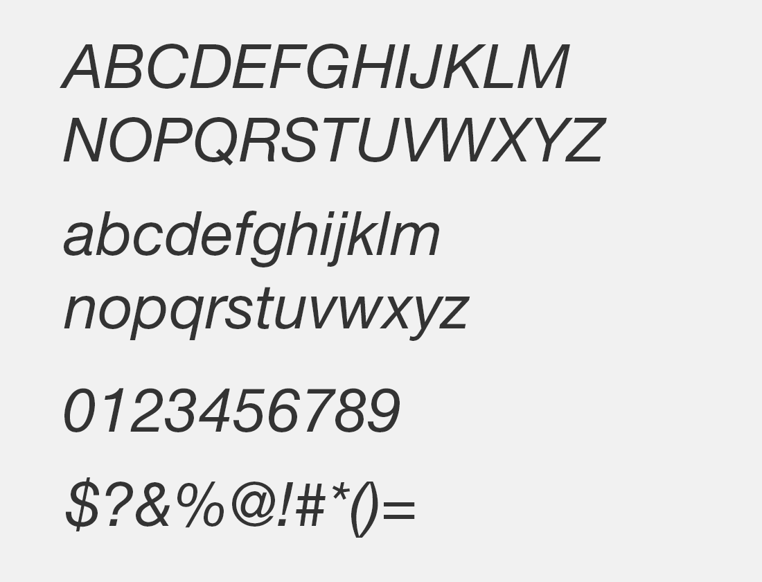 8 Helvetica Neue Interface Italic font