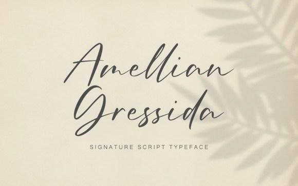 Amellian Gressida Signature Font