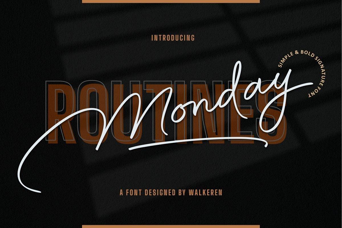 Monday-Routines-Signature-Script-Font